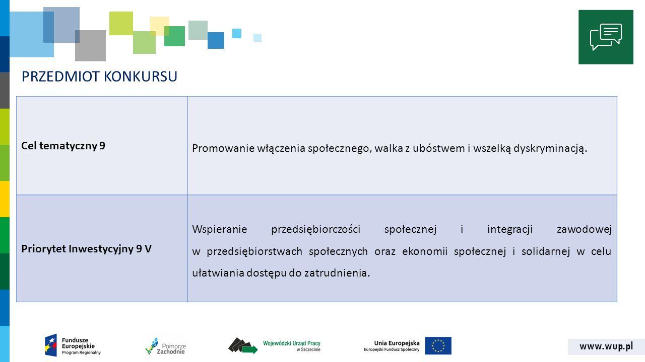 www.wup.pl PRZEDMIOT KONKURSU Cel tematyczny 9 Promowanie włączenia społecznego, walka z ubóstwem i wszelką dyskryminacją. Priorytet Inwestycyjny 9 V