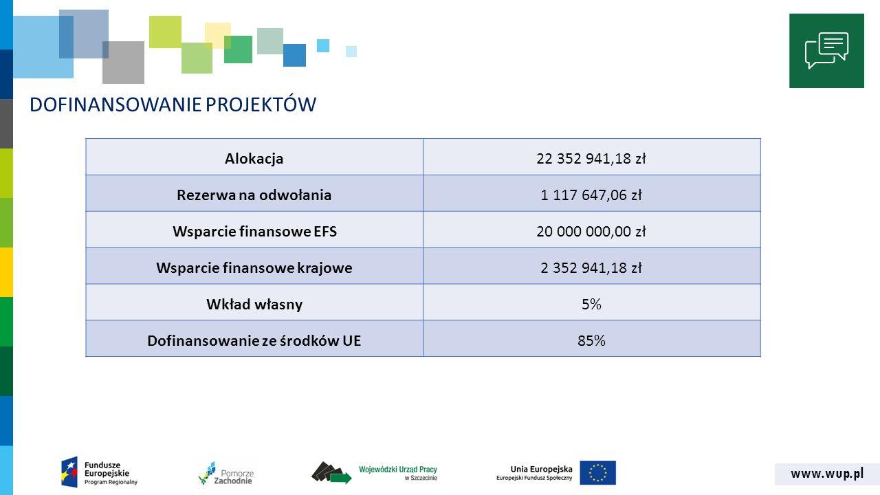 www.wup.pl DOFINANSOWANIE PROJEKTÓW Alokacja22 352 941,18 zł Rezerwa na odwołania1 117 647,06 zł Wsparcie finansowe EFS20 000 000,00 zł Wsparcie finan