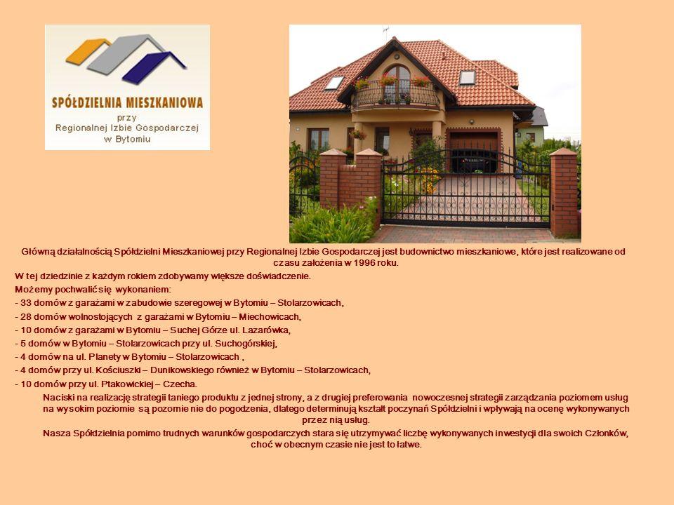 Główną działalnością Spółdzielni Mieszkaniowej przy Regionalnej Izbie Gospodarczej jest budownictwo mieszkaniowe, które jest realizowane od czasu założenia w 1996 roku.