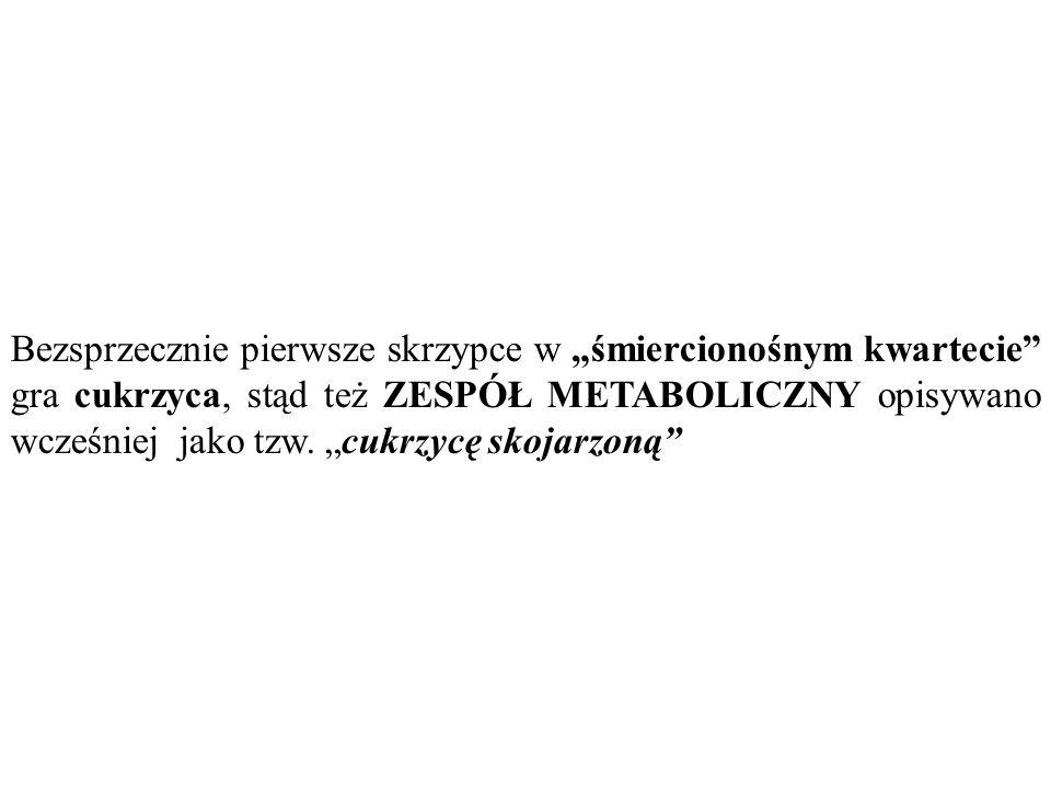 """Bezsprzecznie pierwsze skrzypce w """"śmiercionośnym kwartecie"""" gra cukrzyca, stąd też ZESPÓŁ METABOLICZNY opisywano wcześniej jako tzw. """"cukrzycę skojar"""