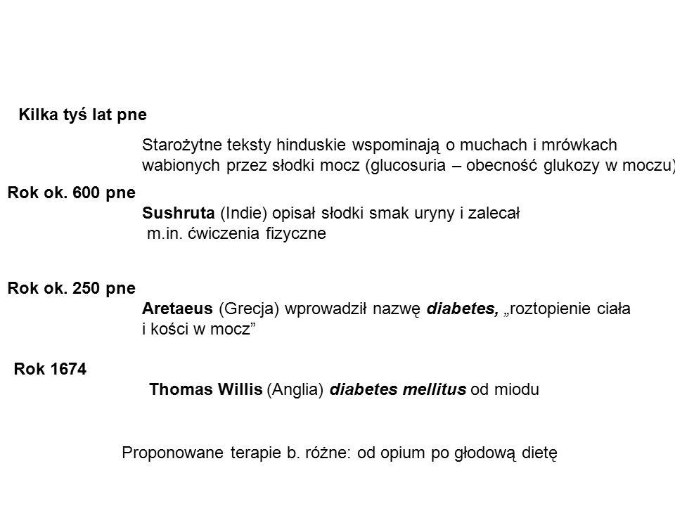 Rozwój cukrzycy typu 2, zmiany poziomów glukozy i insuliny insulinowrażliwość poziom insuliny glikemia poposilkowa glikemia na czczo 0 rozpoznanie 20 NGT 10 IGT Makroangiopatie Mikroangiopatie cukrzyca Lata od rozpoznania cukrzycy cukrzyca