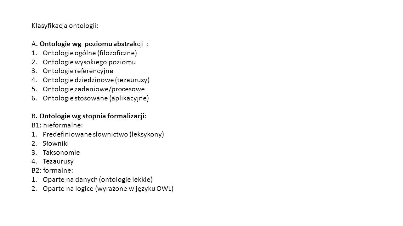 Klasyfikacja ontologii: A.