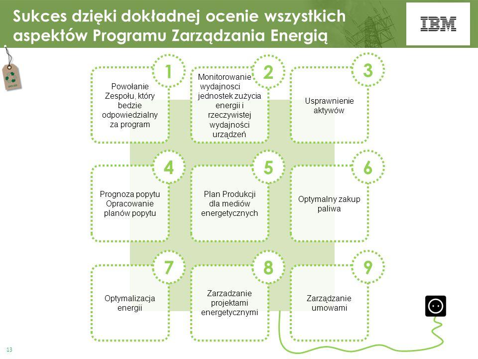 Sukces dzięki dokładnej ocenie wszystkich aspektów Programu Zarządzania Energią Monitorowanie wydajnosci jednostek zużycia energii i rzeczywistej wydajności urządzeń 2 Powołanie Zespołu, który bedzie odpowiedzialny za program 1 Usprawnienie aktywów 3 Plan Produkcji dla mediów energetycznych 5 Prognoza popytu Opracowanie planów popytu 4 Optymalny zakup paliwa 6 Zarzadzanie projektami energetycznymi 8 Optymalizacja energii 7 Zarządzanie umowami 9 13