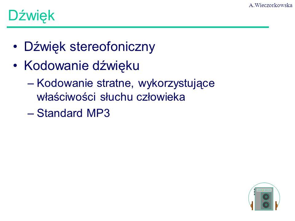 A.Wieczorkowska 41 Dźwięk Dźwięk stereofoniczny Kodowanie dźwięku –Kodowanie stratne, wykorzystujące właściwości słuchu człowieka –Standard MP3