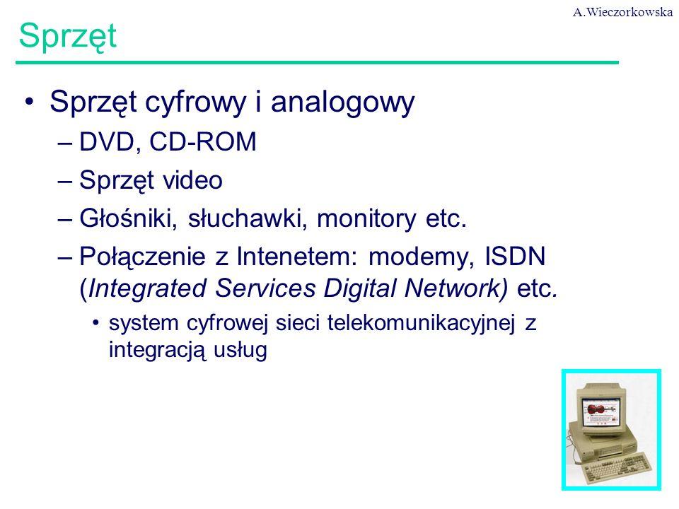A.Wieczorkowska 46 Sprzęt Sprzęt cyfrowy i analogowy –DVD, CD-ROM –Sprzęt video –Głośniki, słuchawki, monitory etc.
