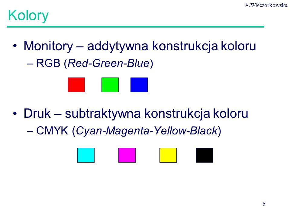 A.Wieczorkowska 6 Kolory Monitory – addytywna konstrukcja koloru –RGB (Red-Green-Blue) Druk – subtraktywna konstrukcja koloru –CMYK (Cyan-Magenta-Yellow-Black)