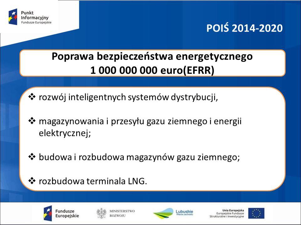 POIŚ 2014-2020  rozwój inteligentnych systemów dystrybucji,  magazynowania i przesyłu gazu ziemnego i energii elektrycznej;  budowa i rozbudowa magazynów gazu ziemnego;  rozbudowa terminala LNG.