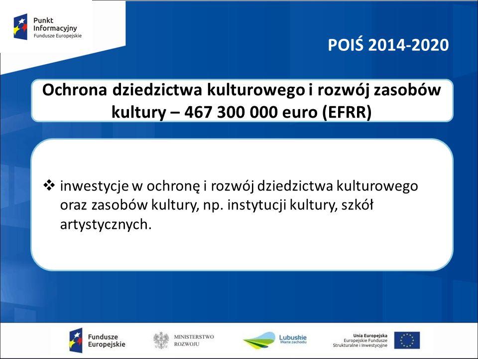 POIŚ 2014-2020  inwestycje w ochronę i rozwój dziedzictwa kulturowego oraz zasobów kultury, np. instytucji kultury, szkół artystycznych. Ochrona dzie