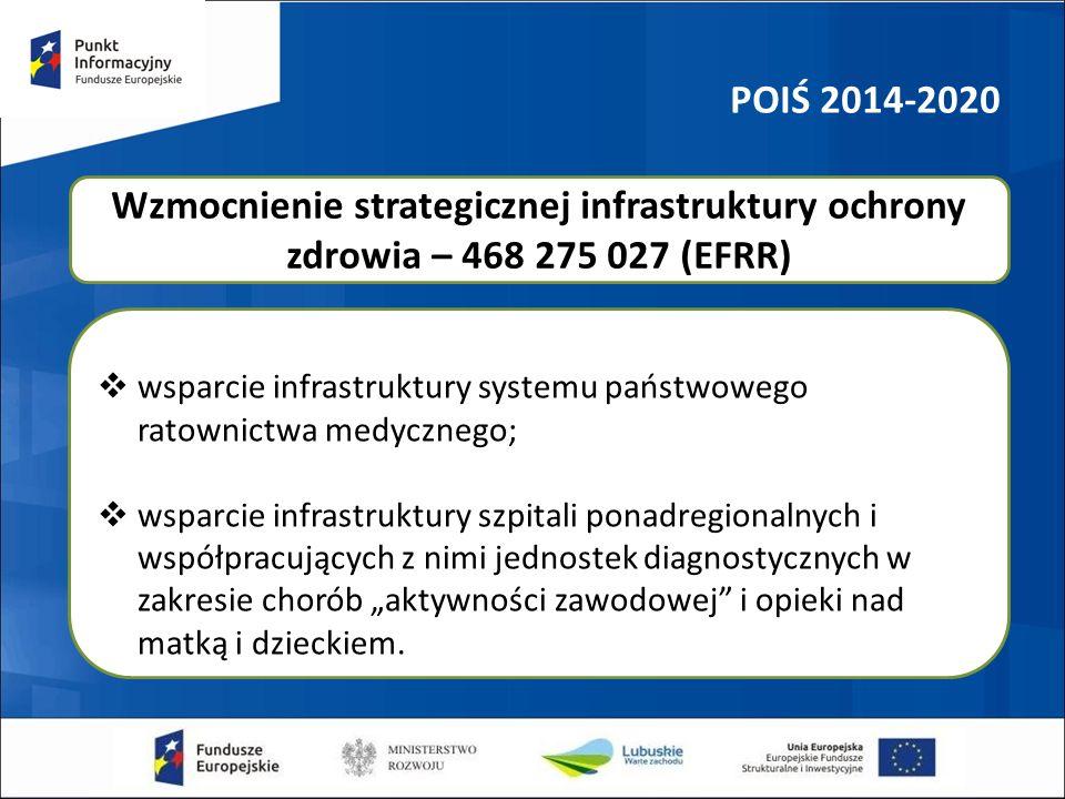 POIŚ 2014-2020  wsparcie infrastruktury systemu państwowego ratownictwa medycznego;  wsparcie infrastruktury szpitali ponadregionalnych i współpracu