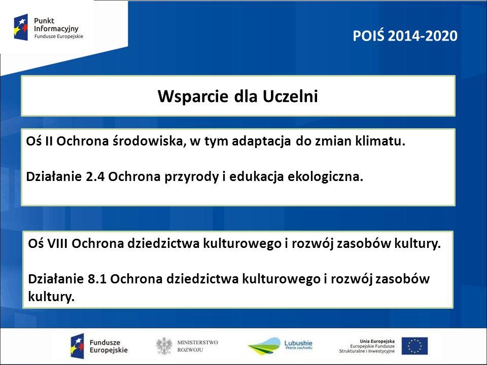 POIŚ 2014-2020 Wsparcie dla Uczelni Oś II Ochrona środowiska, w tym adaptacja do zmian klimatu. Działanie 2.4 Ochrona przyrody i edukacja ekologiczna.