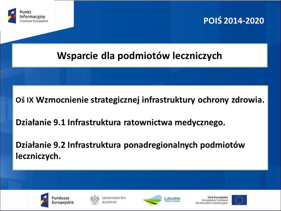 POIŚ 2014-2020 Wsparcie dla podmiotów leczniczych Oś IX Wzmocnienie strategicznej infrastruktury ochrony zdrowia. Działanie 9.1 Infrastruktura ratowni