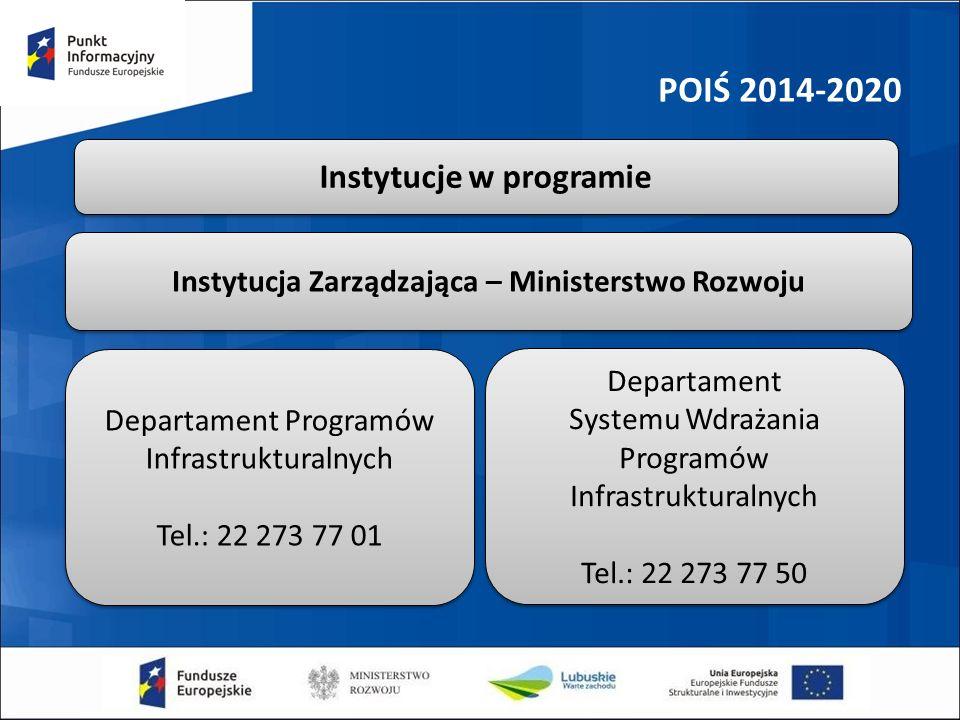 POIŚ 2014-2020 Instytucja Zarządzająca – Ministerstwo Rozwoju Instytucje w programie Departament Programów Infrastrukturalnych Tel.: 22 273 77 01 Depa