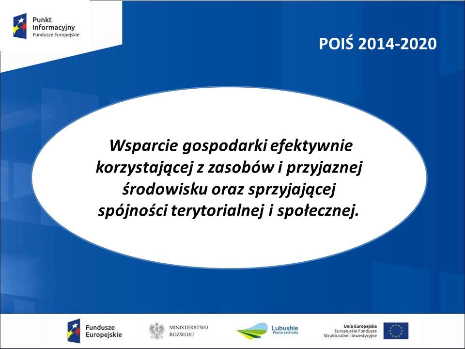 POIŚ 2014-2020 Wsparcie gospodarki efektywnie korzystającej z zasobów i przyjaznej środowisku oraz sprzyjającej spójności terytorialnej i społecznej.