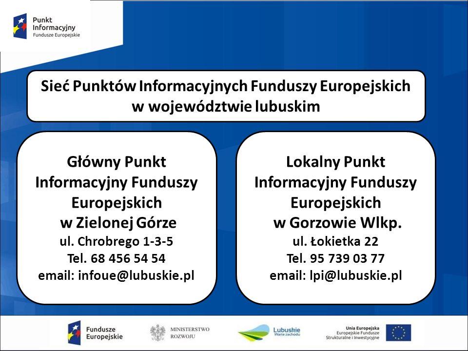 Sieć Punktów Informacyjnych Funduszy Europejskich w województwie lubuskim Główny Punkt Informacyjny Funduszy Europejskich w Zielonej Górze ul. Chrobre