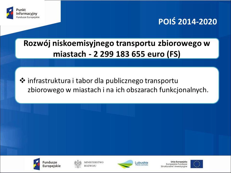 POIŚ 2014-2020  infrastruktura i tabor dla publicznego transportu zbiorowego w miastach i na ich obszarach funkcjonalnych.