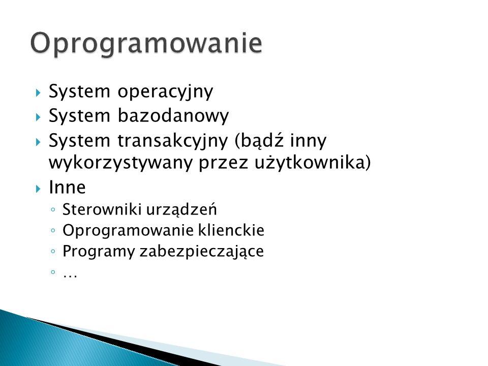  System operacyjny  System bazodanowy  System transakcyjny (bądź inny wykorzystywany przez użytkownika)  Inne ◦ Sterowniki urządzeń ◦ Oprogramowanie klienckie ◦ Programy zabezpieczające ◦ …