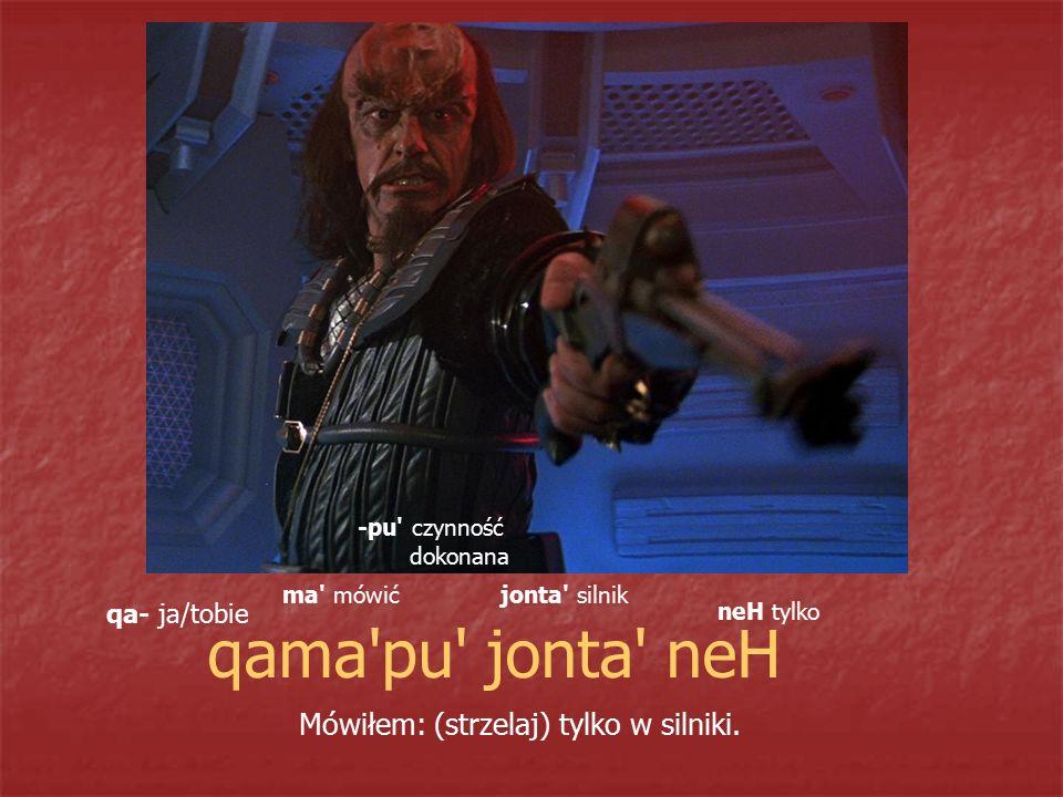 qama'pu' jonta' neH Mówiłem: (strzelaj) tylko w silniki. qa- ja/tobie ma' mówić -pu' czynność dokonana jonta' silnik neH tylko