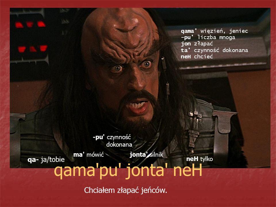 qama'pu' jonta' neH Chciałem złapać jeńców. qa- ja/tobie ma' mówić -pu' czynność dokonana jonta' silnik neH tylko qama' więzień, jeniec -pu' liczba mn