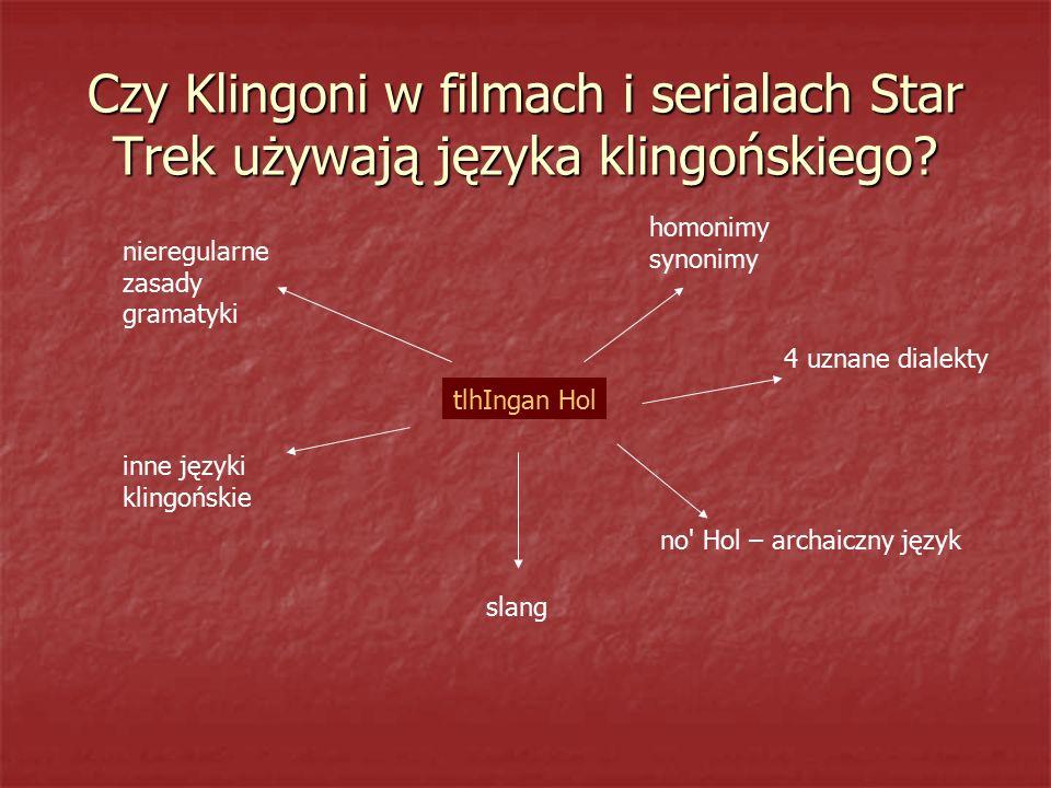 Czy Klingoni w filmach i serialach Star Trek używają języka klingońskiego? tlhIngan Hol homonimy synonimy 4 uznane dialekty no' Hol – archaiczny język