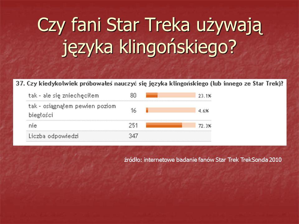 Czy fani Star Treka używają języka klingońskiego? źródło: internetowe badanie fanów Star Trek TrekSonda 2010