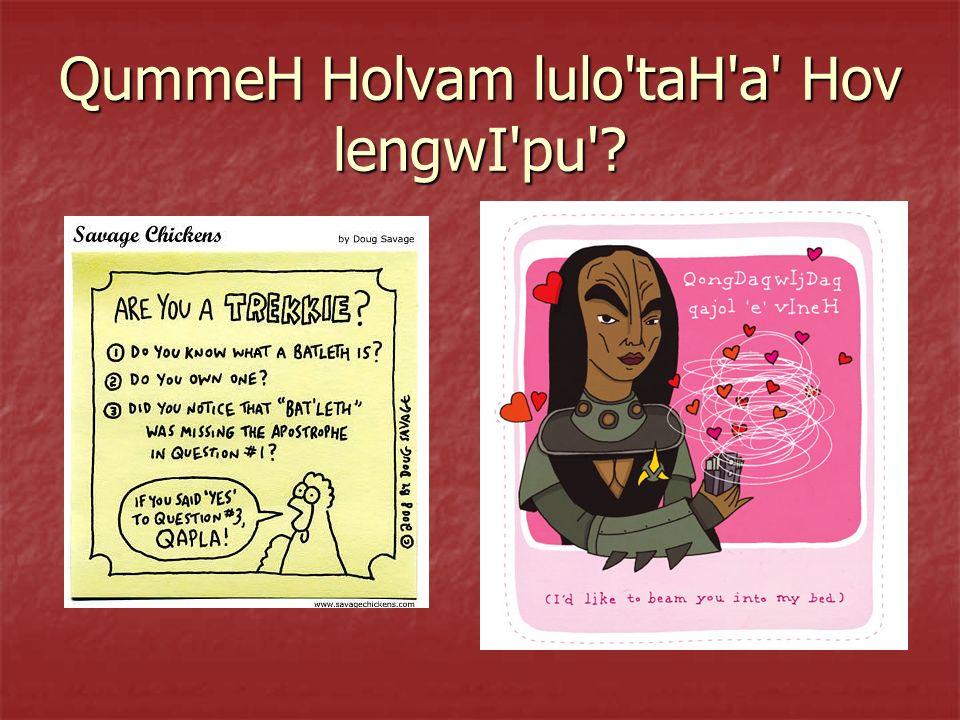 QummeH Holvam lulo'taH'a' Hov lengwI'pu'?
