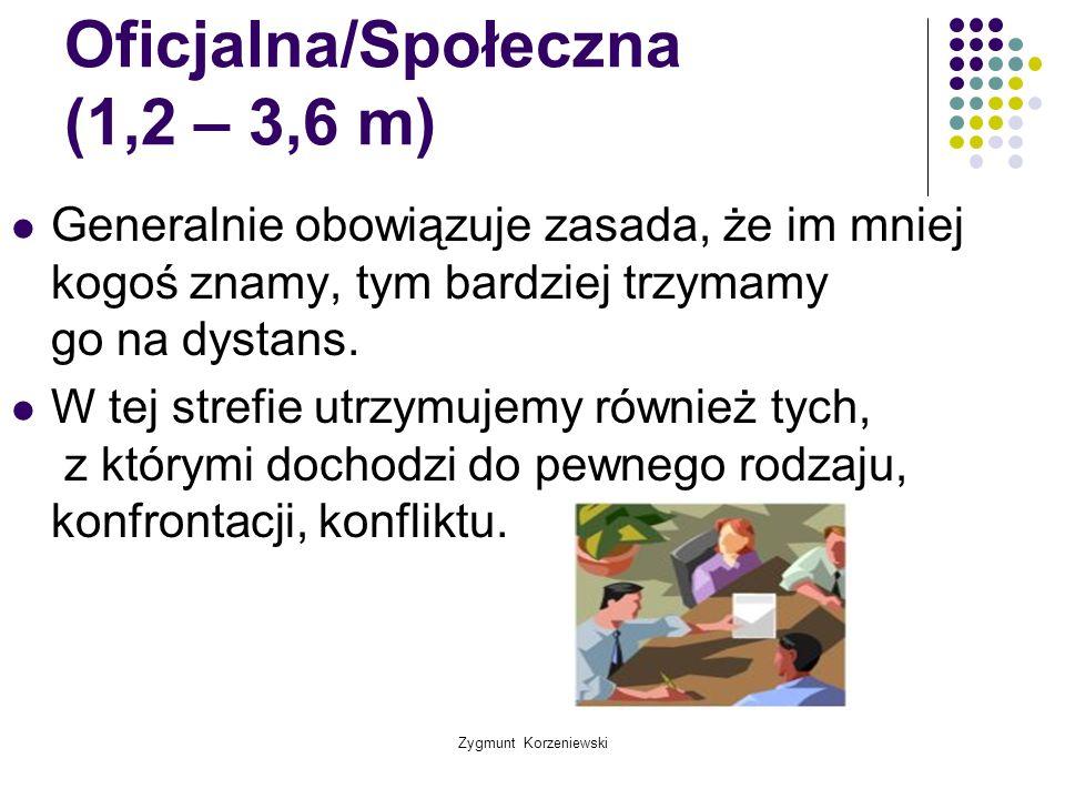 Zygmunt Korzeniewski Oficjalna/Społeczna (1,2 – 3,6 m) Generalnie obowiązuje zasada, że im mniej kogoś znamy, tym bardziej trzymamy go na dystans. W t
