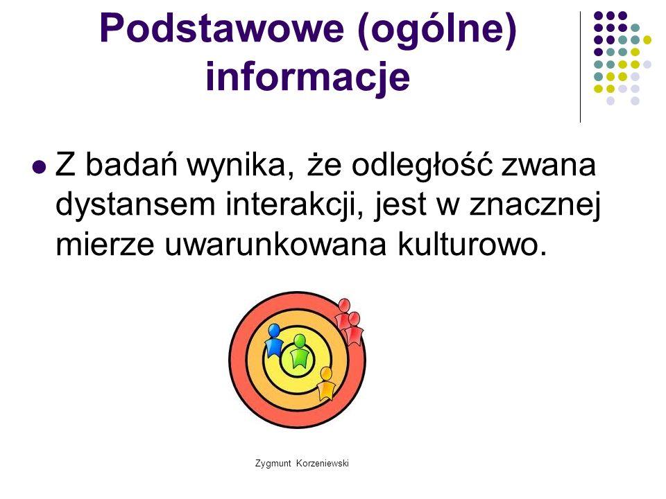 Zygmunt Korzeniewski Podstawowe (ogólne) informacje Z badań wynika, że odległość zwana dystansem interakcji, jest w znacznej mierze uwarunkowana kultu