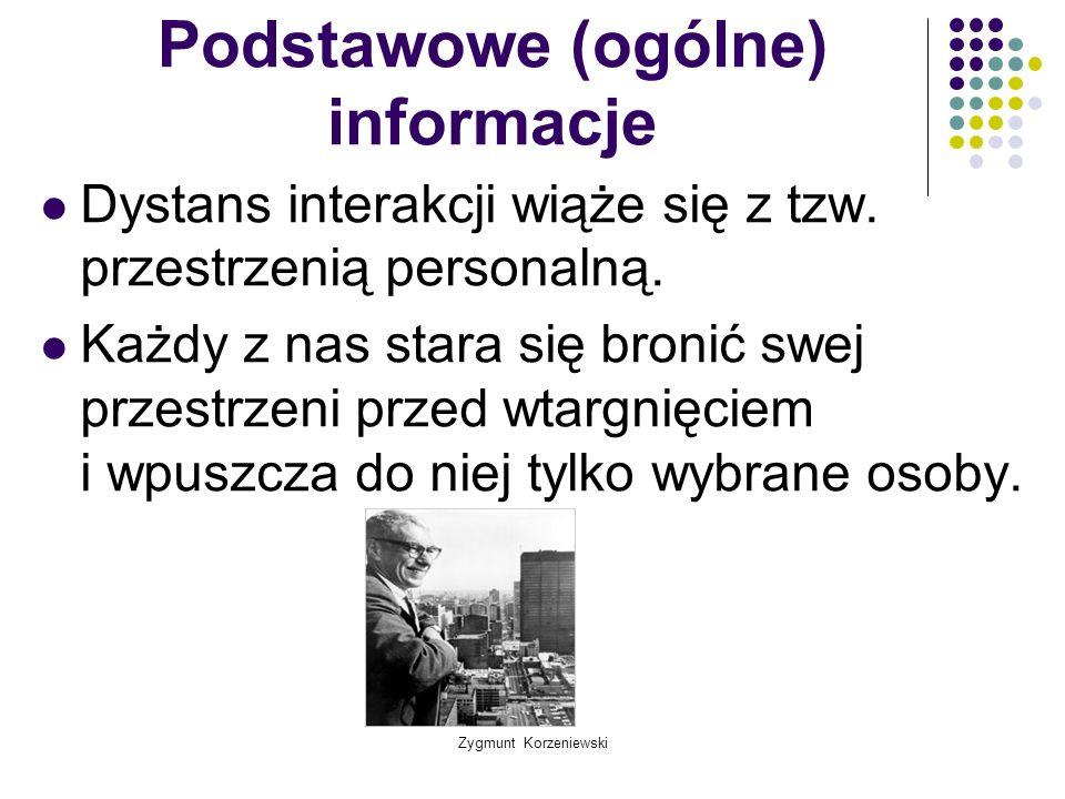 Zygmunt Korzeniewski Podstawowe (ogólne) informacje Dystans interakcji wiąże się z tzw. przestrzenią personalną. Każdy z nas stara się bronić swej prz