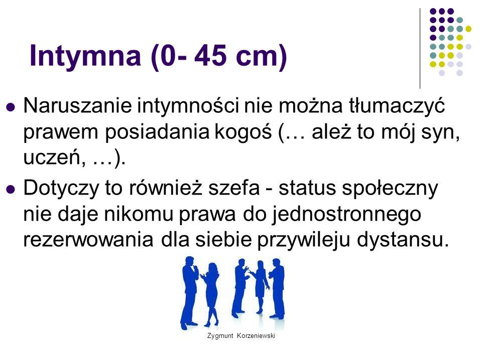 Zygmunt Korzeniewski Intymna (0- 45 cm) Naruszanie intymności nie można tłumaczyć prawem posiadania kogoś (… ależ to mój syn, uczeń, …). Dotyczy to ró