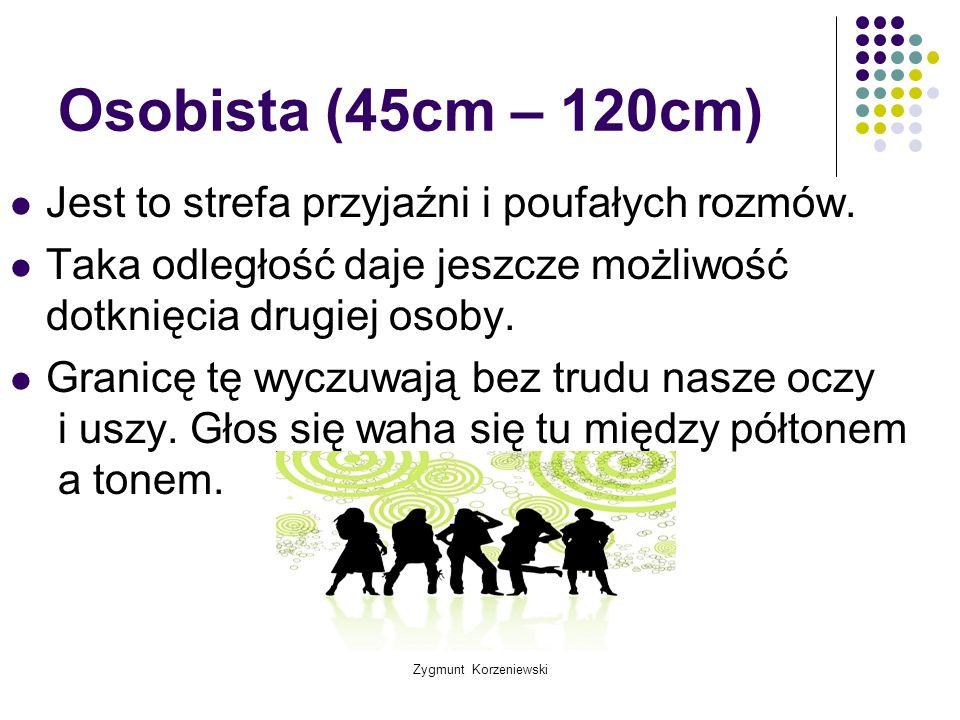 Zygmunt Korzeniewski Osobista (45cm – 120cm) Jest to strefa przyjaźni i poufałych rozmów. Taka odległość daje jeszcze możliwość dotknięcia drugiej oso