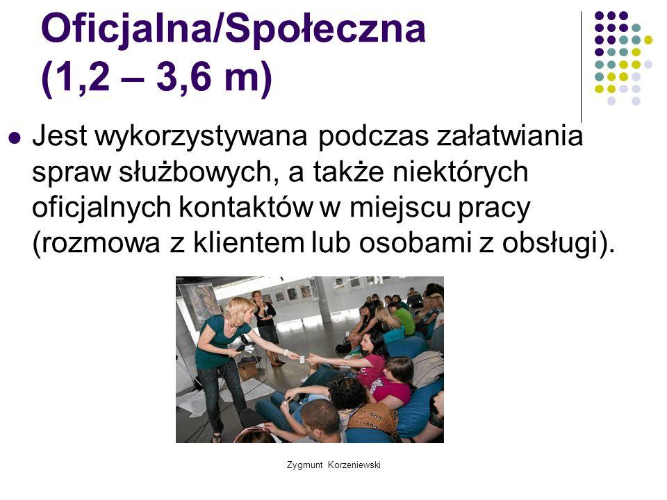 Zygmunt Korzeniewski Oficjalna/Społeczna (1,2 – 3,6 m) Jest wykorzystywana podczas załatwiania spraw służbowych, a także niektórych oficjalnych kontak