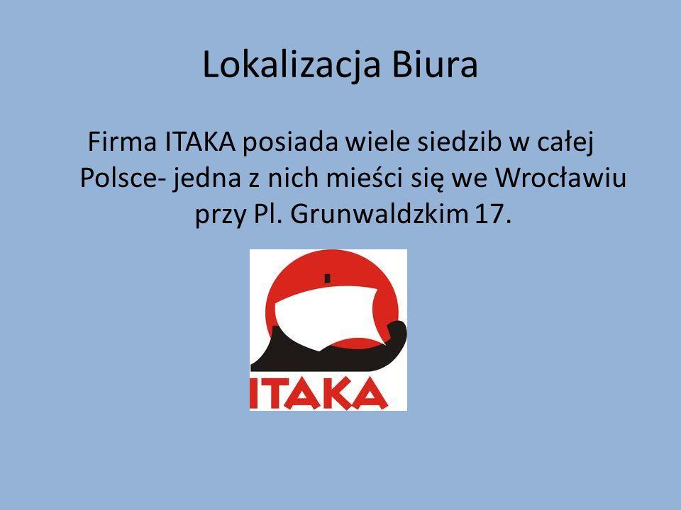 Lokalizacja Biura Firma ITAKA posiada wiele siedzib w całej Polsce- jedna z nich mieści się we Wrocławiu przy Pl. Grunwaldzkim 17.