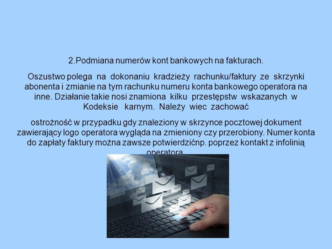 2.Podmiana numerów kont bankowych na fakturach.