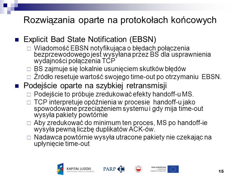 15 Rozwiązania oparte na protokołach końcowych Explicit Bad State Notification (EBSN)  Wiadomość EBSN notyfikująca o błędach połączenia bezprzewodowego jest wysyłana przez BS dla usprawnienia wydajności połączenia TCP  BS zajmuje się lokalnie usunięciem skutków błędów  Źródło resetuje wartość swojego time-out po otrzymaniu EBSN.