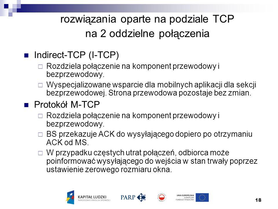 18 rozwiązania oparte na podziale TCP na 2 oddzielne połączenia Indirect-TCP (I-TCP)  Rozdziela połączenie na komponent przewodowy i bezprzewodowy.