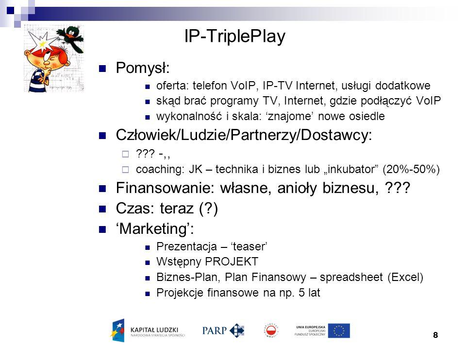 8 IP-TriplePlay Pomysł: oferta: telefon VoIP, IP-TV Internet, usługi dodatkowe skąd brać programy TV, Internet, gdzie podłączyć VoIP wykonalność i skala: 'znajome' nowe osiedle Człowiek/Ludzie/Partnerzy/Dostawcy:  .