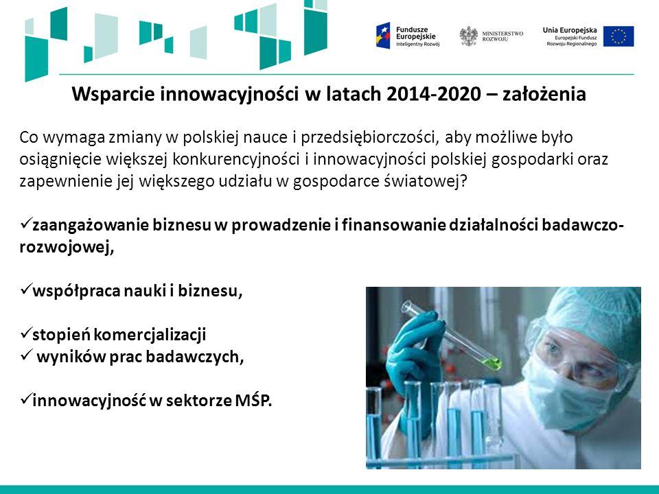 Wsparcie innowacyjności z funduszy UE na lata 2014-2020 W perspektywie 2014-2020 wsparcie innowacyjności realizowane będzie przede wszystkim w ramach celów tematycznych: CT 1 – Wzmacnianie badań naukowych, rozwoju technologicznego i innowacji CT 3 – Wzmacnianie konkurencyjności MŚP.