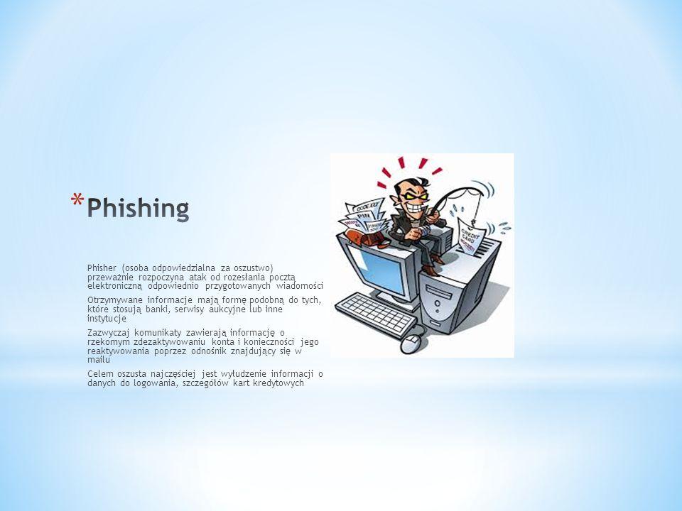 Phisher (osoba odpowiedzialna za oszustwo) przeważnie rozpoczyna atak od rozesłania pocztą elektroniczną odpowiednio przygotowanych wiadomości Otrzymywane informacje mają formę podobną do tych, które stosują banki, serwisy aukcyjne lub inne instytucje Zazwyczaj komunikaty zawierają informację o rzekomym zdezaktywowaniu konta i konieczności jego reaktywowania poprzez odnośnik znajdujący się w mailu Celem oszusta najczęściej jest wyłudzenie informacji o danych do logowania, szczegółów kart kredytowych