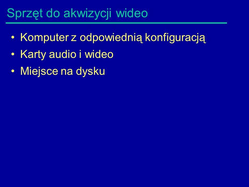 Sprzęt do akwizycji wideo Komputer z odpowiednią konfiguracją Karty audio i wideo Miejsce na dysku