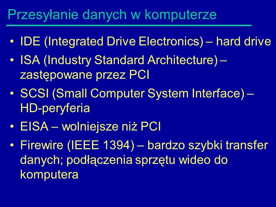 Przesyłanie danych w komputerze IDE (Integrated Drive Electronics) – hard drive ISA (Industry Standard Architecture) – zastępowane przez PCI SCSI (Small Computer System Interface) – HD-peryferia EISA – wolniejsze niż PCI Firewire (IEEE 1394) – bardzo szybki transfer danych; podłączenia sprzętu wideo do komputera