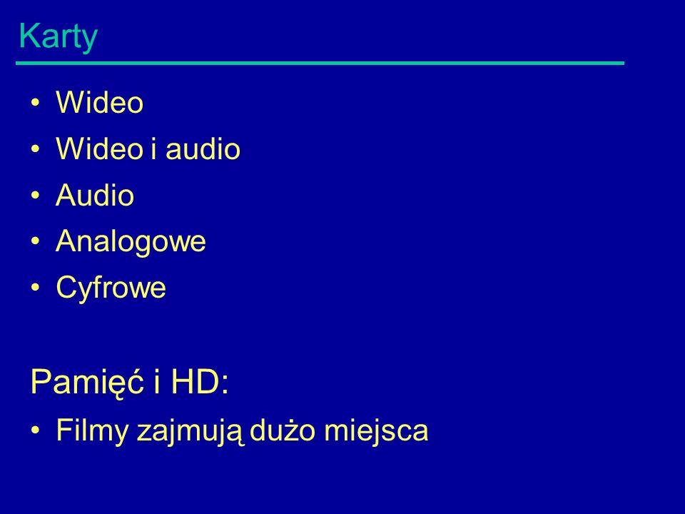 Karty Wideo Wideo i audio Audio Analogowe Cyfrowe Pamięć i HD: Filmy zajmują dużo miejsca