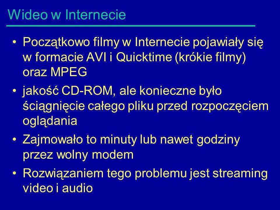 Wideo w Internecie Początkowo filmy w Internecie pojawiały się w formacie AVI i Quicktime (krókie filmy) oraz MPEG jakość CD-ROM, ale konieczne było ściągnięcie całego pliku przed rozpoczęciem oglądania Zajmowało to minuty lub nawet godziny przez wolny modem Rozwiązaniem tego problemu jest streaming video i audio
