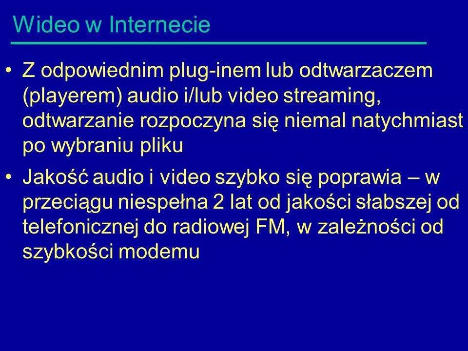 Wideo w Internecie Z odpowiednim plug-inem lub odtwarzaczem (playerem) audio i/lub video streaming, odtwarzanie rozpoczyna się niemal natychmiast po wybraniu pliku Jakość audio i video szybko się poprawia – w przeciągu niespełna 2 lat od jakości słabszej od telefonicznej do radiowej FM, w zależności od szybkości modemu