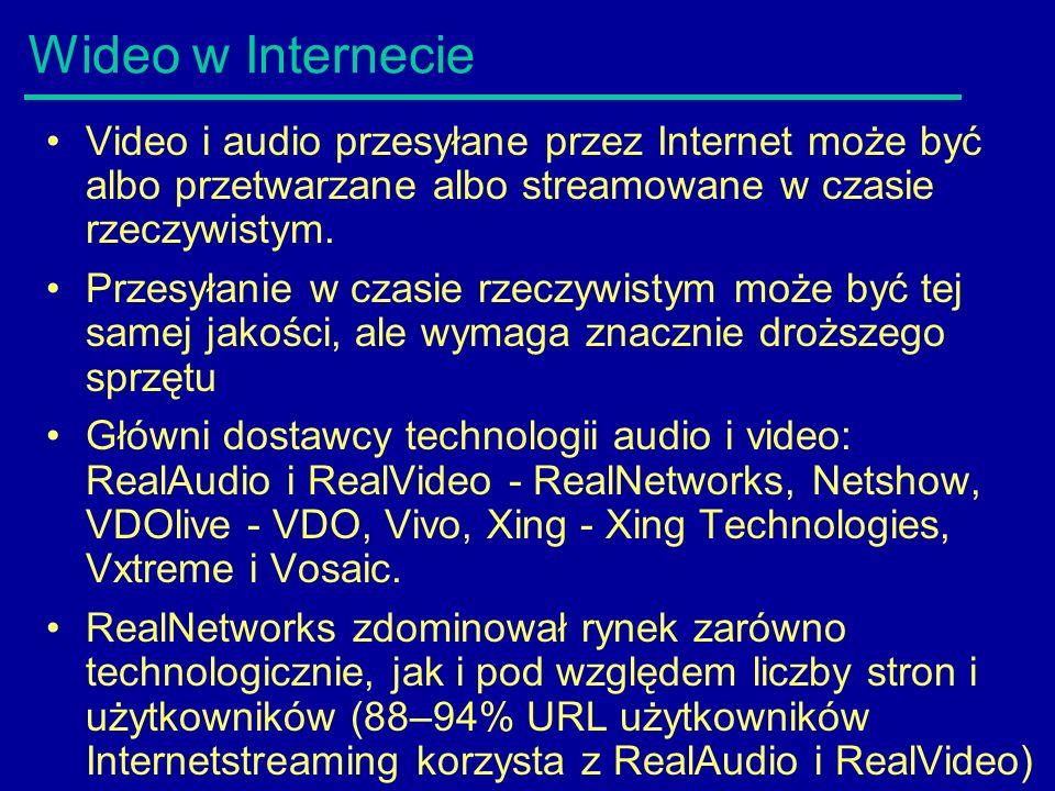 Wideo w Internecie Video i audio przesyłane przez Internet może być albo przetwarzane albo streamowane w czasie rzeczywistym. Przesyłanie w czasie rze