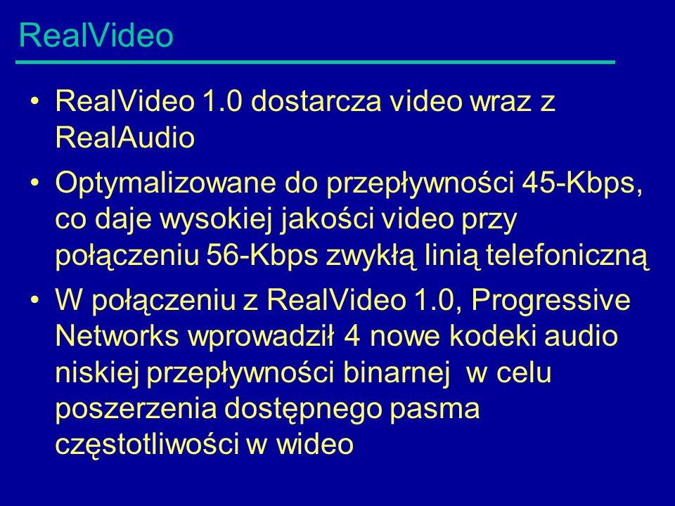 RealVideo RealVideo 1.0 dostarcza video wraz z RealAudio Optymalizowane do przepływności 45-Kbps, co daje wysokiej jakości video przy połączeniu 56-Kbps zwykłą linią telefoniczną W połączeniu z RealVideo 1.0, Progressive Networks wprowadził 4 nowe kodeki audio niskiej przepływności binarnej w celu poszerzenia dostępnego pasma częstotliwości w wideo