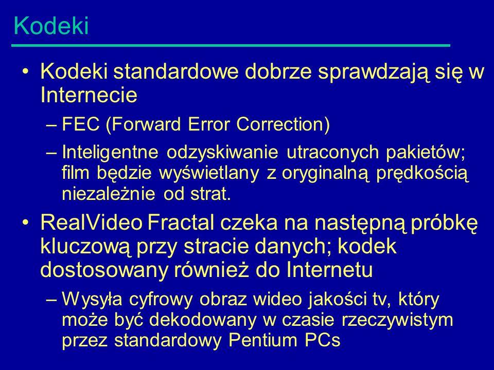 Kodeki Kodeki standardowe dobrze sprawdzają się w Internecie –FEC (Forward Error Correction) –Inteligentne odzyskiwanie utraconych pakietów; film będzie wyświetlany z oryginalną prędkością niezależnie od strat.