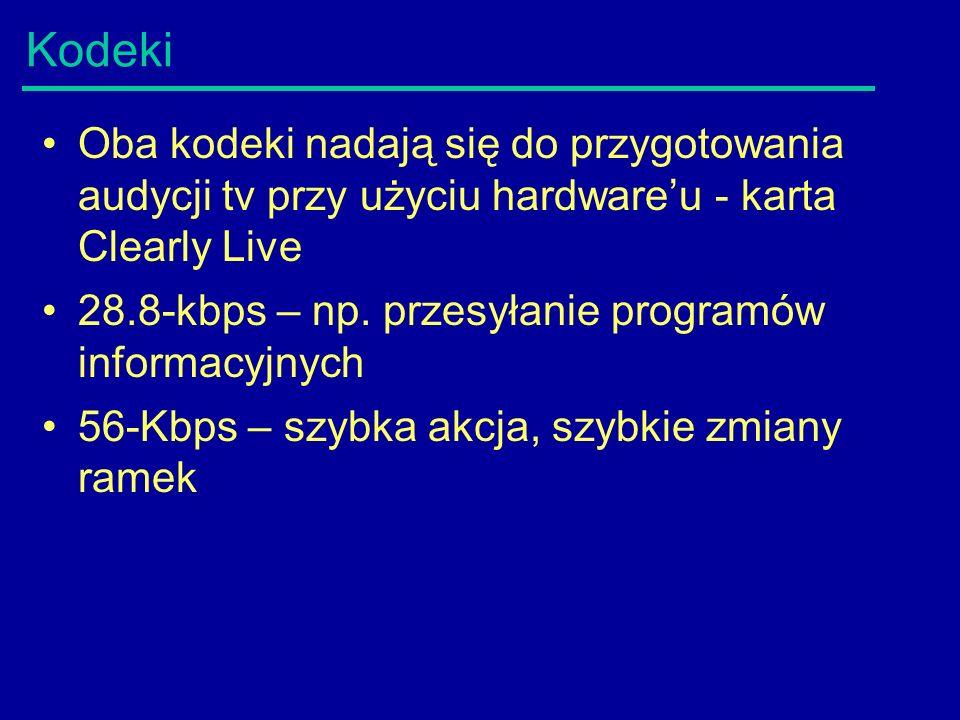 Kodeki Oba kodeki nadają się do przygotowania audycji tv przy użyciu hardware'u - karta Clearly Live 28.8-kbps – np.