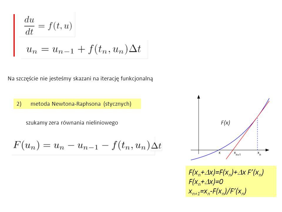 Na szczęście nie jesteśmy skazani na iterację funkcjonalną 2)metoda Newtona-Raphsona (stycznych) szukamy zera równania nieliniowegoF(x) F(x n +  x)=F(x n )+  x F'(x n ) F(x n +  x)=0 x n+1 =x n -F(x n )/F'(x n )