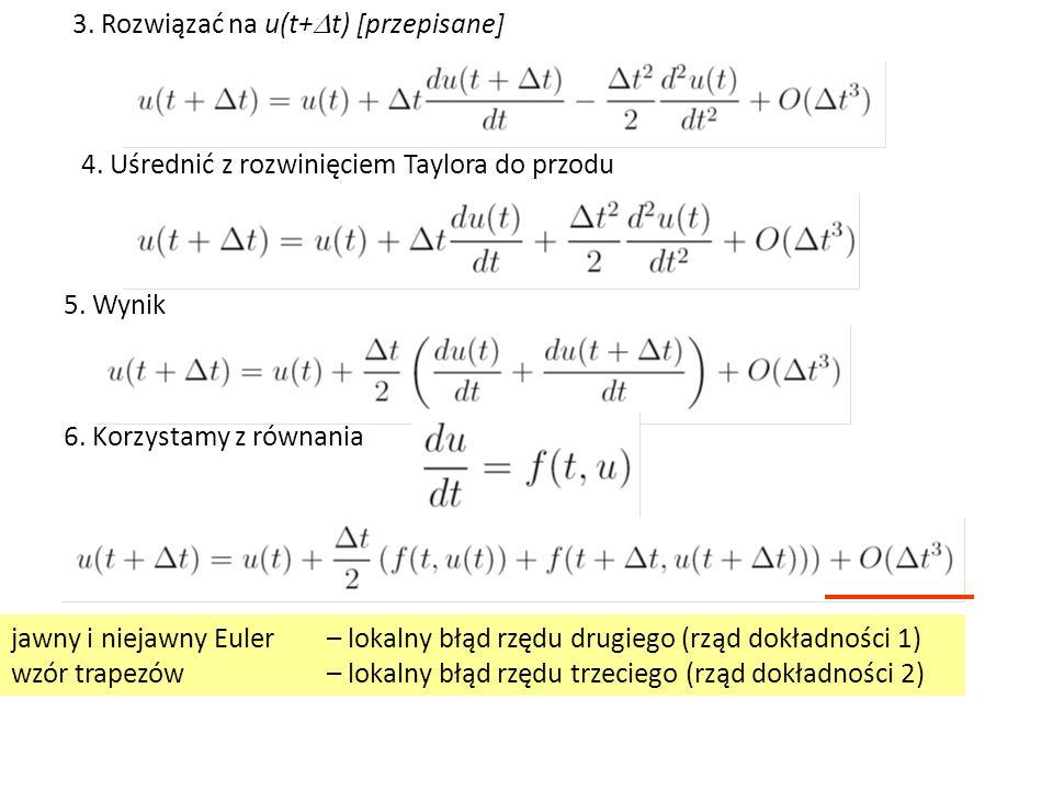 3. Rozwiązać na u(t+  t) [przepisane] 4. Uśrednić z rozwinięciem Taylora do przodu 5.