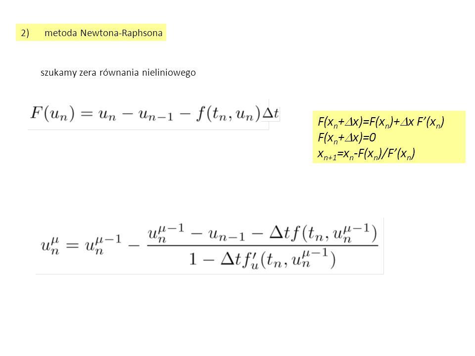 niejawny schemat Eulera z metodą Newtona-Raphsona, zastosowanie problem początkowy: u'=-100u, u(0)=1 z rozwiązaniem dokładnym u(t)=exp(  t) kolejne przybliżenia:  t=0.05 (jawny Euler stabilny bezwzględnie dla  t <0.02) 1, 0.1666677, 0.1666677 zbieżność w jednej iteracji - F jest liniowa w u Wniosek: dla liniowych równań f liniowe jest również F wtedy iteracja Newtona zbiega się w jednej iteracji niezależnie od wielkości  t zakres zbieżności: w praktyce  t znacznie większy niż w iteracji funkcjonalnej ale: niedostępne proste oszacowane przedziału zbieżności w praktyce iteracja Newtona – szybsza i szerzej zbieżna niż iteracja funkcjonalna